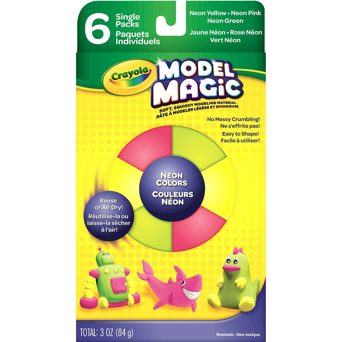 Model Magic Neon Clay, Assorted, 6-Pack, WARNING: Choking Hazard-small parts By Crayola