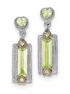 Sterling Silver & Vermeil Light Green CZ Post Earrings grams (L 28mm W 8mm)Polished | Open back | Post | SS & vermeil | CZ | Textured | Dangle | Rhodium-plated