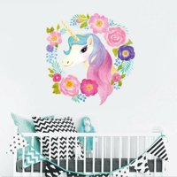 KABOER Garland Flowers Unicorn Wall Stickers Kids Girls Bedroom Decal Room Pretty