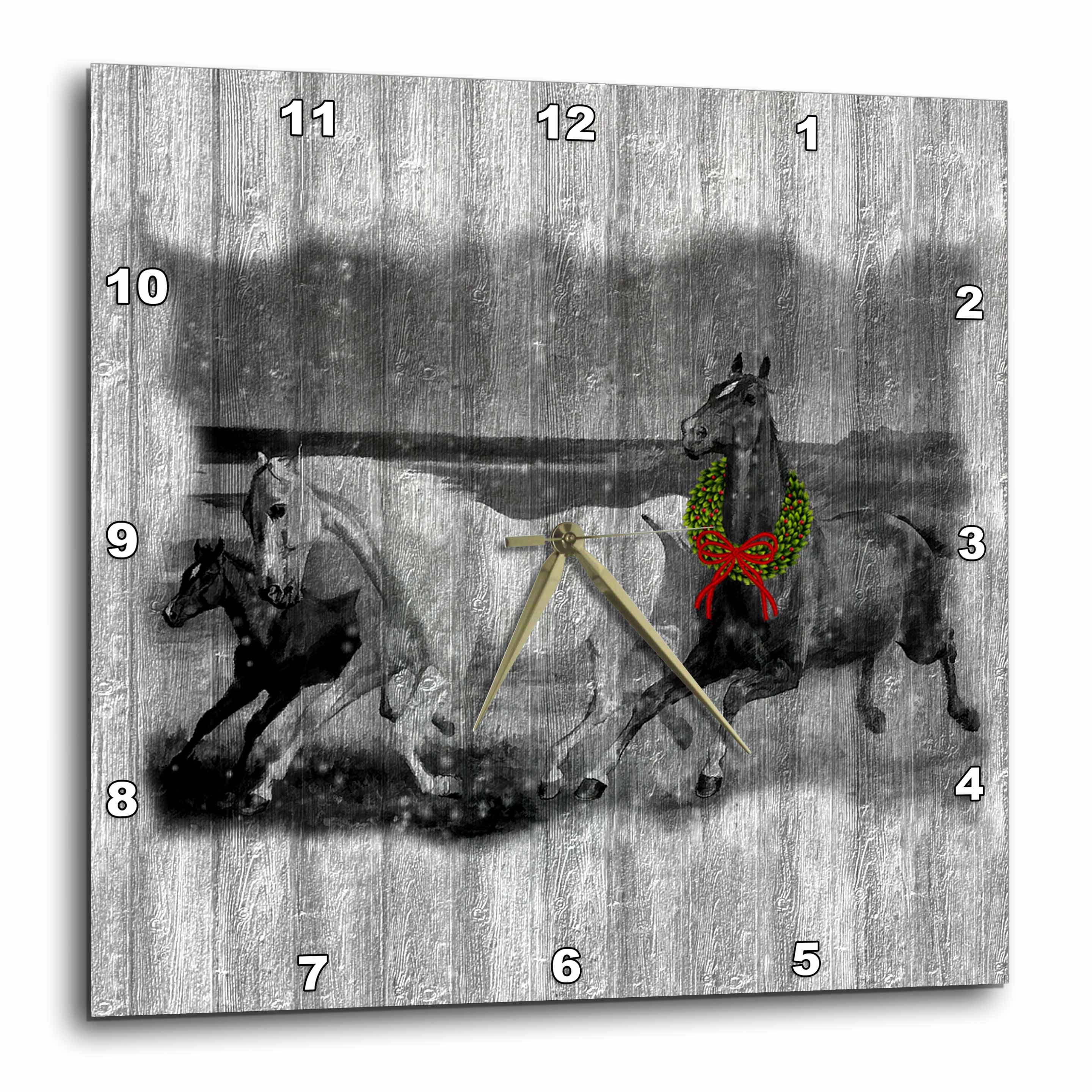 3dRose Western Wild Horses on Faded Gray Barn Wood with Christmas Wreath, Wall Clock, 10 by 10-inch
