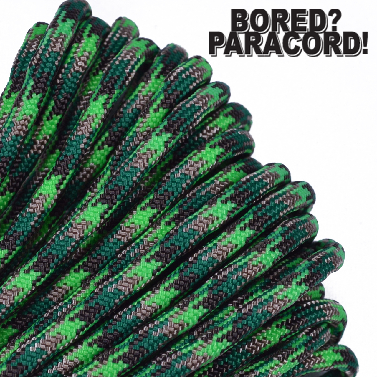 Bored Paracord Brand 550 lb Type III Paracord - Neon Green Flame 100 Feet