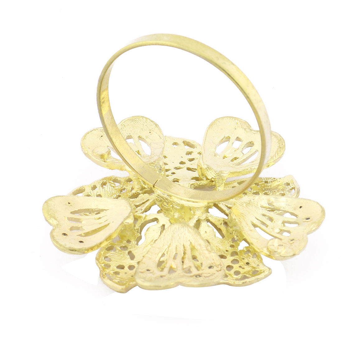 Household Metal Flower Detail Dinner Napkin Serviette Holder Ring Gold Tone - image 1 of 3