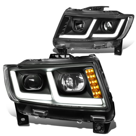 For 2011 to 2013 Jeep Grand Cherokee LED DRL Projector Headlight Black Housing Clear Corner Headlamp 12
