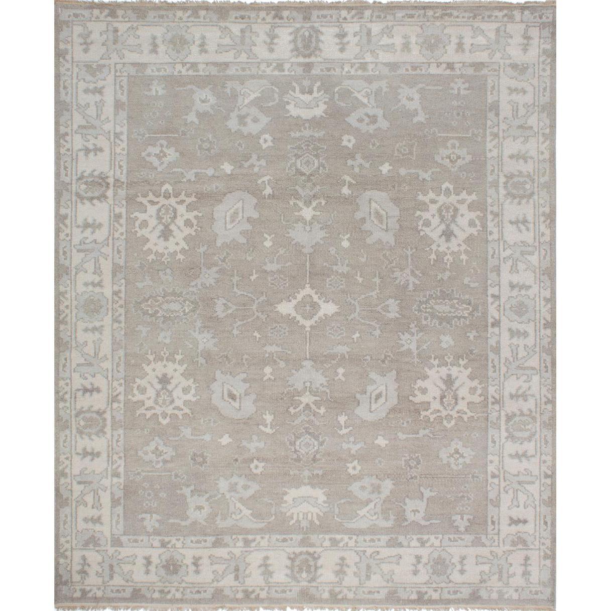Ecarpetgallery  Hand-knotted Ushak Grey Wool Rug (8' x 9'8)