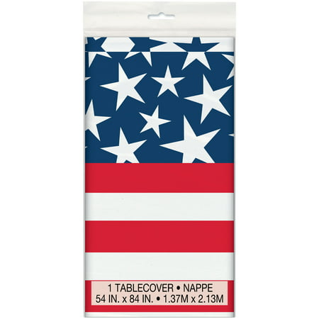 Stars & Stripes 4th of July Plastic Tablecloth, 84 x 54 in, 1ct - Christmas Plastic Tablecloths