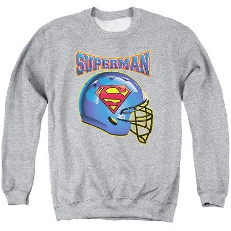 Superman DC Comics Football Helmet Adult Crewneck Sweatshirt ()