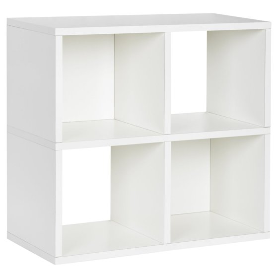 Way Basics Eco 4 Cubby Bookcase Stackable Organizer And Storage Shelf White Walmart Com