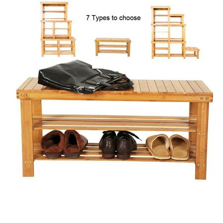 Ktaxon 100% Natural Bamboo Shoe Bench Shoe Rack Organizer Entryway Storage Shelf for Closet Bathroom Bedroom Balcony ()