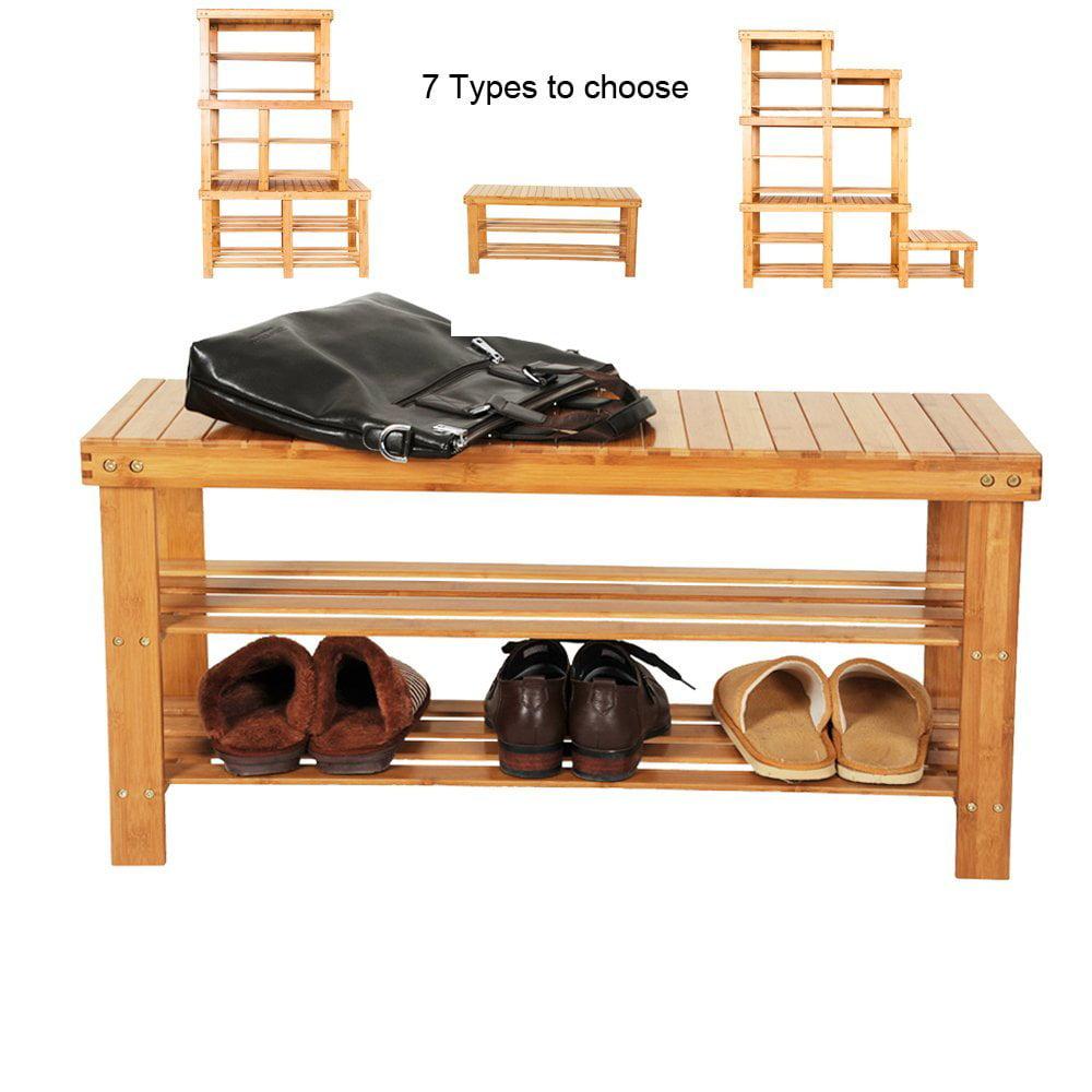 Ktaxon 100% Natural Bamboo Shoe Bench Shoe Rack Organizer Entryway Storage Shelf for Closet Bathroom Bedroom Balcony