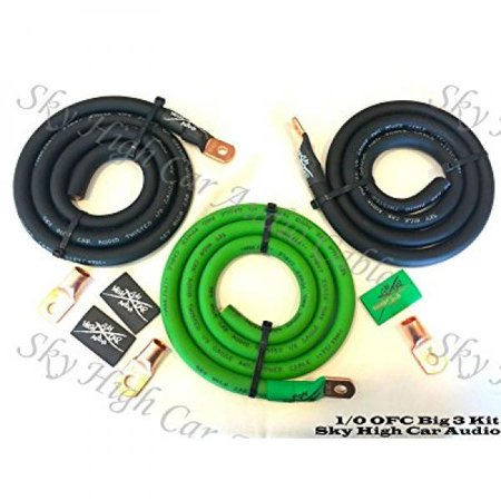 10 Awg Electrical Wiring (Sky High Oversized 1/0 Gauge OFC AWG Big 3 Upgrade GREEN/BLACK Electrical)