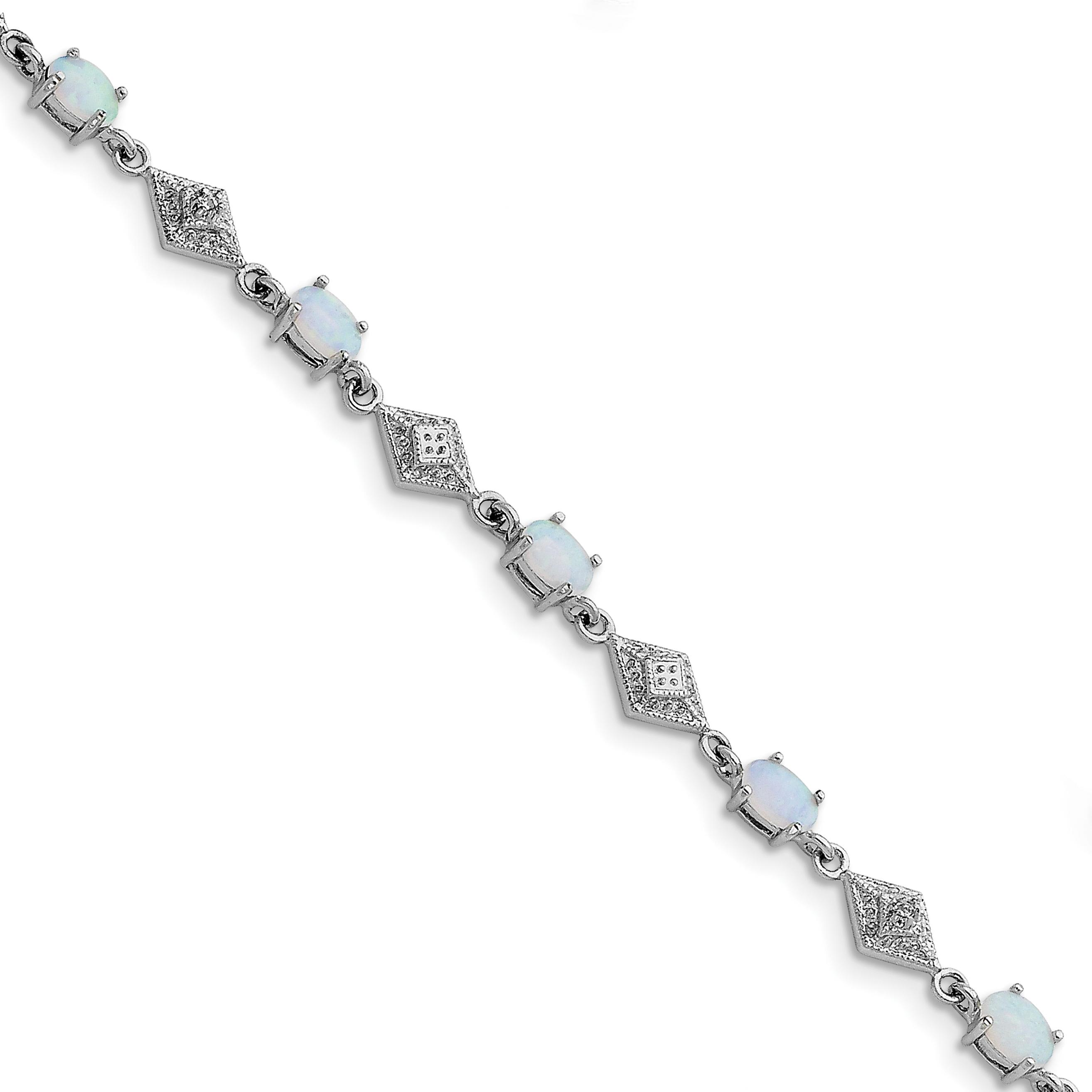 "Sterling Silver Lab Created Opal Fancy Link Bracelet 7"" by"