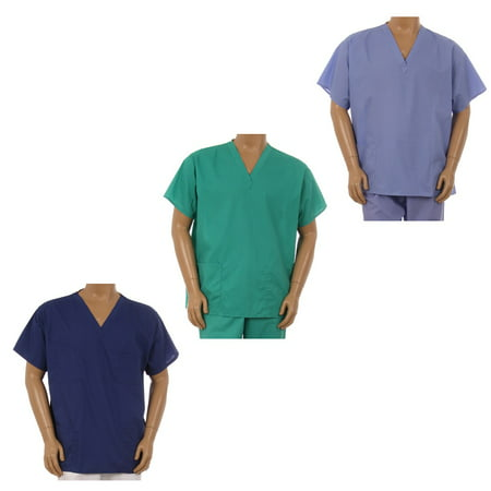 Unisex Clinic Physician Medical Doctor Nurse reversible Uniform Scrub Top XS-3XL (Halloween Nurse Scrubs)