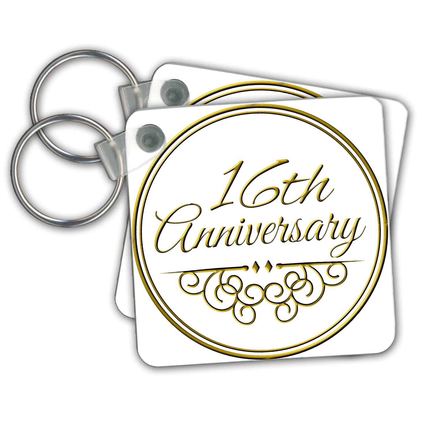 3drose 3drose 16th Anniversary Gift Gold Text For Celebrating Wedding Anniversaries 16 Years Married Together Key Chains 2 25 By 2 25 Inch Set Of 2 Walmart Com Walmart Com