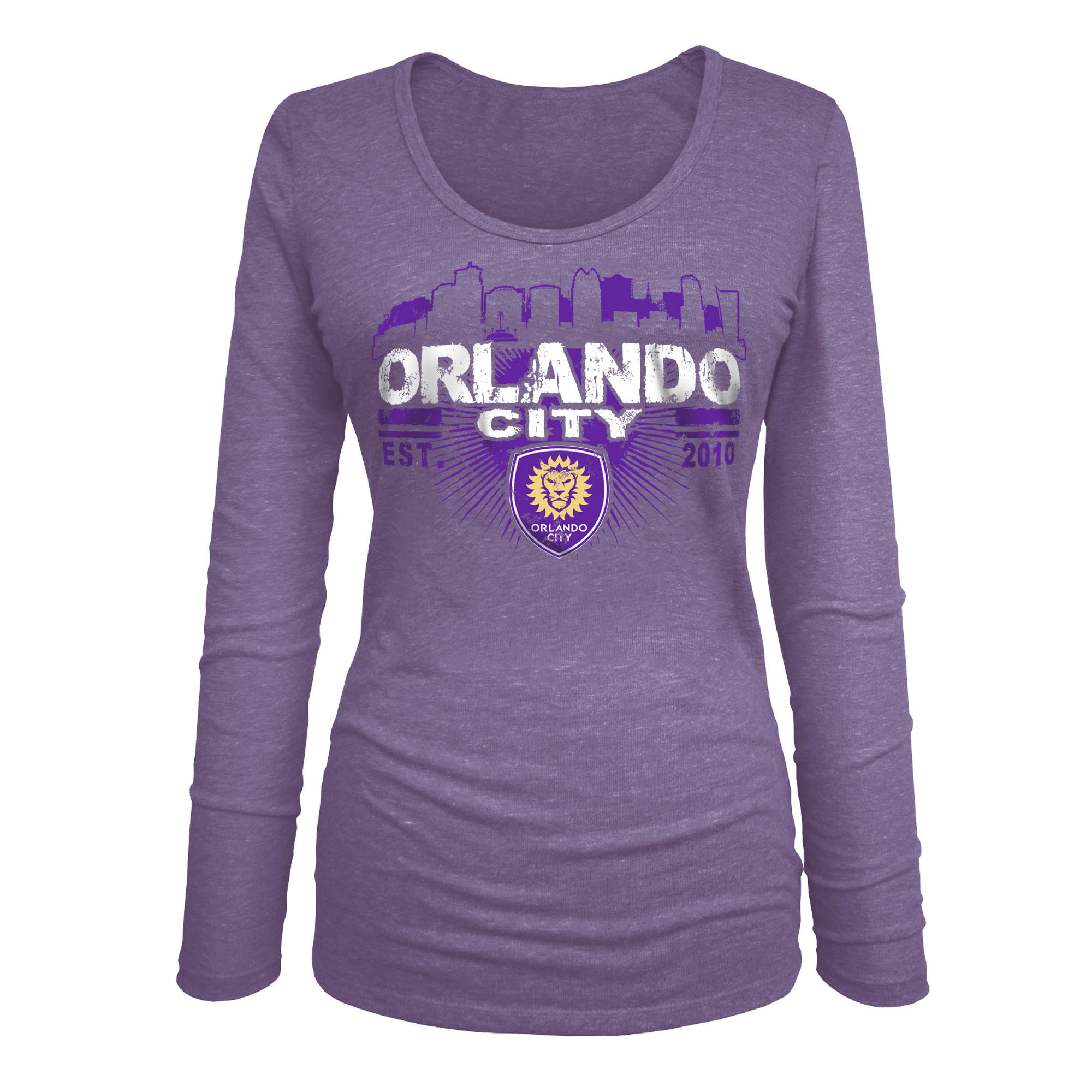 Orlando City SC 5th & Ocean by New Era Women's Tri-Blend U-Neck Long Sleeve T-Shirt - Purple