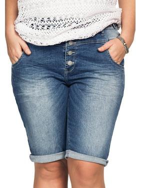 3989fd231f Product Image Ellos Plus Size Bermuda Denim Shorts