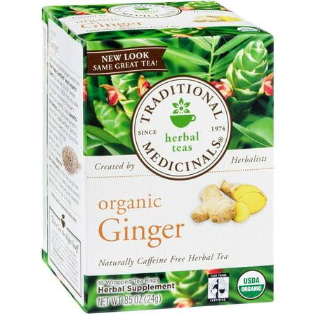 TRADITIONAL MEDICINALS supplément à base de plantes gingembre biologique Thé, 16 comte, .85 oz (Pack de 3)