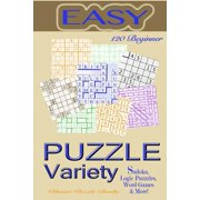 Variety Puzzles Easy : Beginner Variety: Sudoku, Logic Puzzles, Word Games & More!