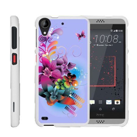 HTC Desire 530 | Desire 630, [SNAP SHELL][White] 2 Piece Snap On Rubberized Hard White Plastic Cell Phone Case with Exclusive Art -  Purple Flower Butterfly