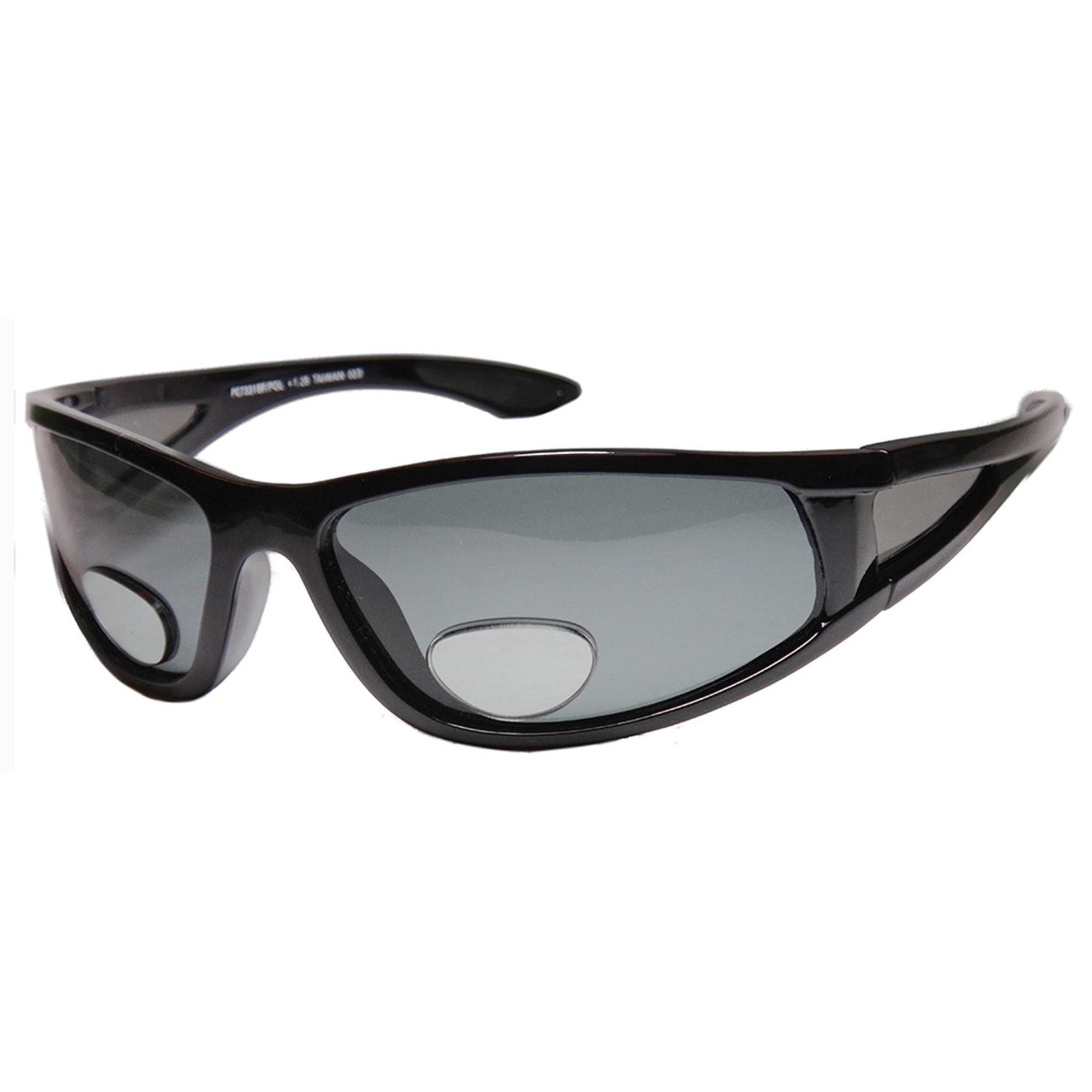 Glasslane Mens Sports Wrap Around Sunglasses Polarized Bifocal Lens Fly FishingBLACK +2.00