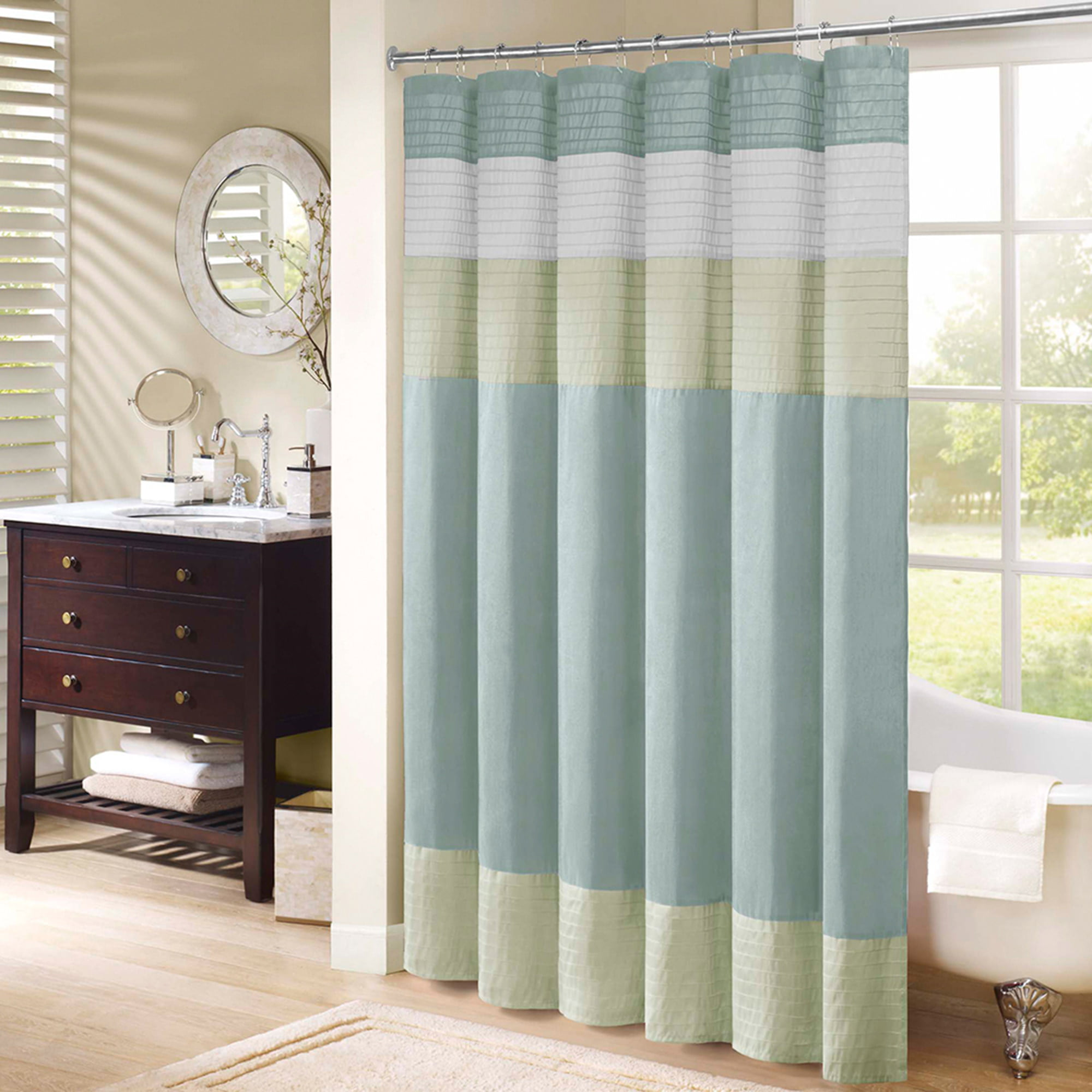Home Essence Salem Pieced Faux Silk Shower Curtain by E&E Co. Ltd