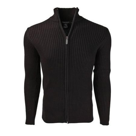 Marquis Men's Full Zip Ribbed Mock Turtleneck 100% Cotton Cardigan
