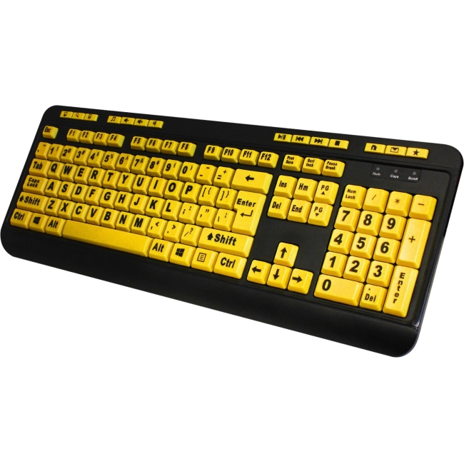 Adesso AKB-132UY EasyTouch Florescent Multimedia Keyboard, Yellow