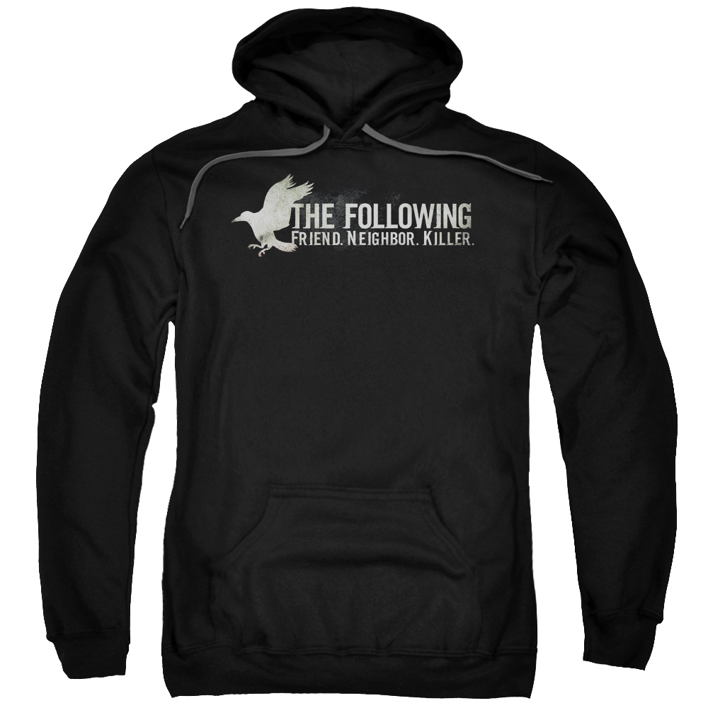 FOLLOWING/RAVEN LOGO-ADULT PULL-OVER HOODIE-BLACK-MD