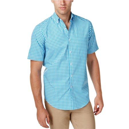 Club Room Mens Gingham Check SS Button Up (Mens Gingham Check Shirt)