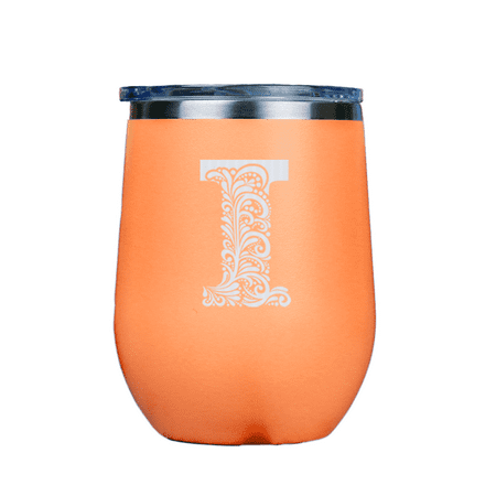 Monogram I | Stainless Insulated Wine Glass 12oz | Laser Etched |  Crafted in the USA. ()