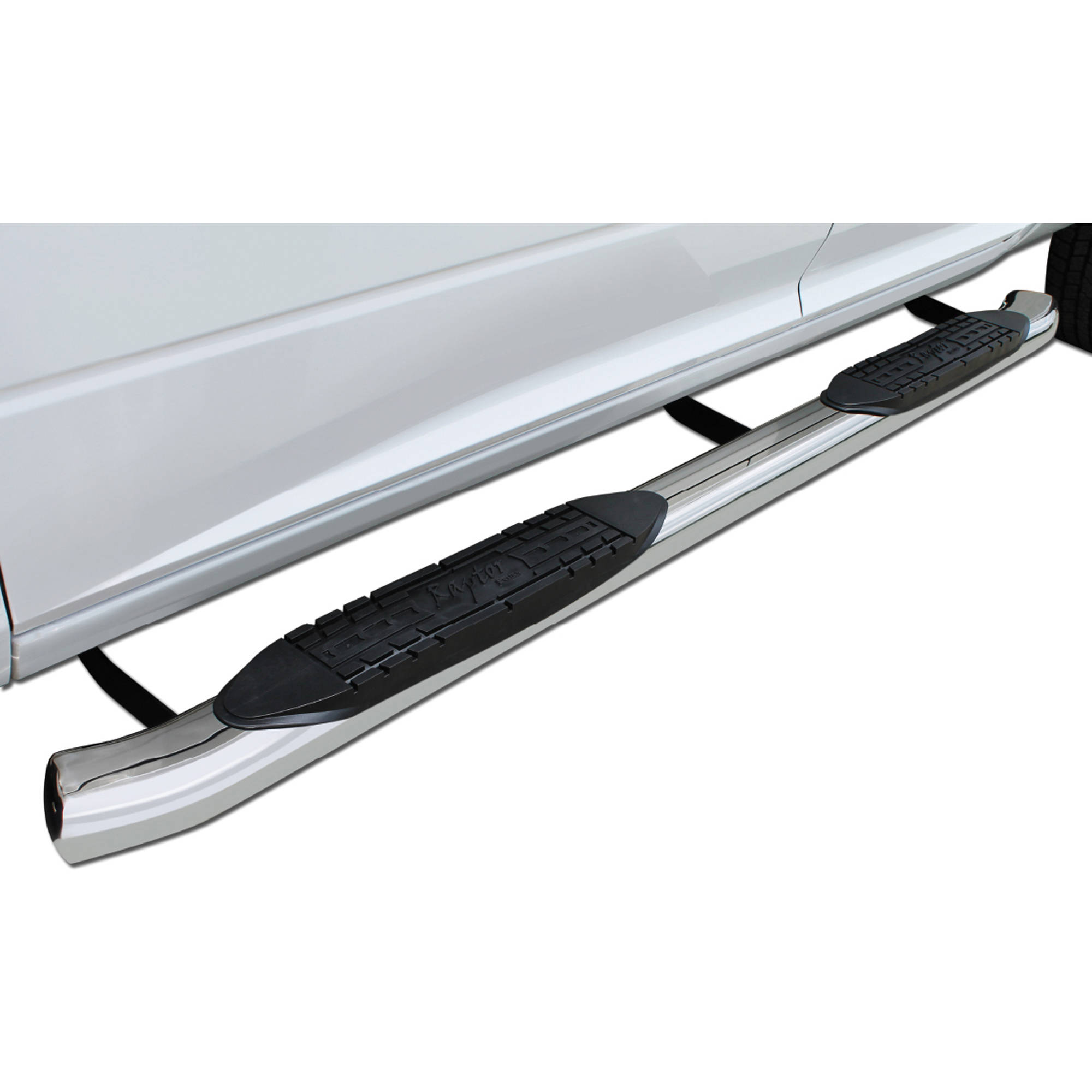 "Raptor Series 99-15 Ford F-250/F350 Super Duty Crew Cab; 00-06 Ford Excursion 4"" OE Style Curved Oval Steps, Stainless Steel"