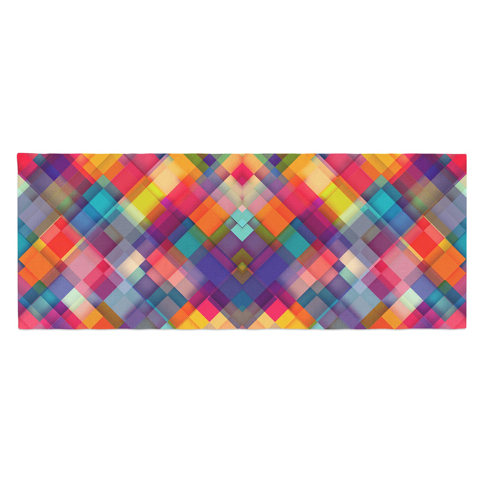 Danny Ivan Squares Everywhere Bed Runner by Kess InHouse