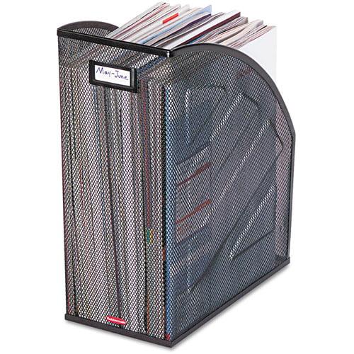 Rolodex Nestable Rolled Mesh Steel Jumbo Magazine File, Black