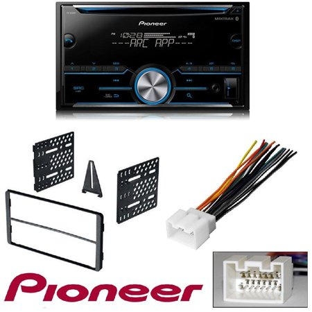 American Dash Trim - Pioneer FH-S500BT Double DIN Bluetooth In-Dash CD/AM/FM Car Stereo Receiver w/ Pandora and Spotify Control Car Stereo Radio Double 2 Din Installation Dash Trim Bezel Kit W/ Wiring Harness