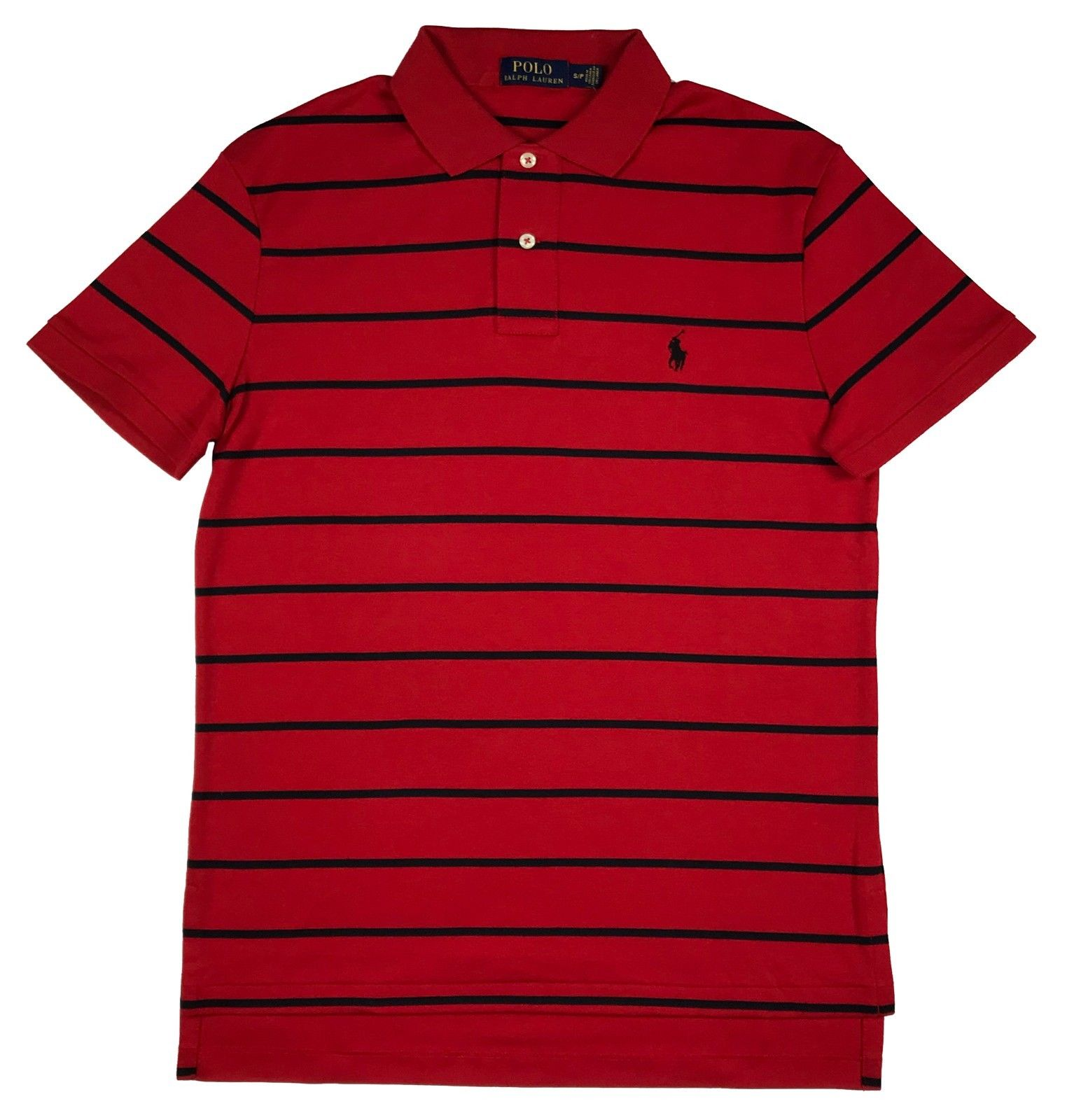 Ralph Lauren Polo Mens Soft Touch Striped Pony Logo Shirt White/Navy/Red/