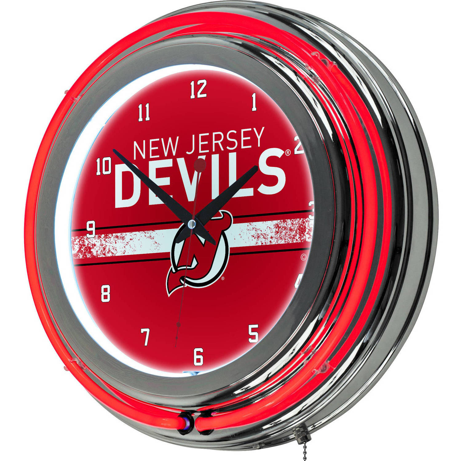 NHL Chrome Double Rung Neon Clock, New Jersey Devils