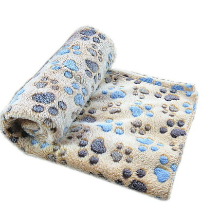 Cute Pet Small Medium Large Warm Paw Print Dog Puppy Soft Blanket Bed Mat