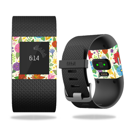 Skin Decal Wrap for Fitbit Surge cover skins sticker watch Flower Garden