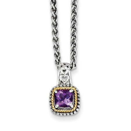 Sterling Silver Two Tone Silver And Gold Plated Sterling Silver w/Amethyst Necklace - image 2 of 2