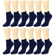 12 Pack Women's Ankle Socks Assorted Colors Size 9-11 Navy
