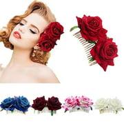 HiCoup Rose Hairpin Bridesmaid Wedding Women Hair Accessory Bridal Flower Hair Comb