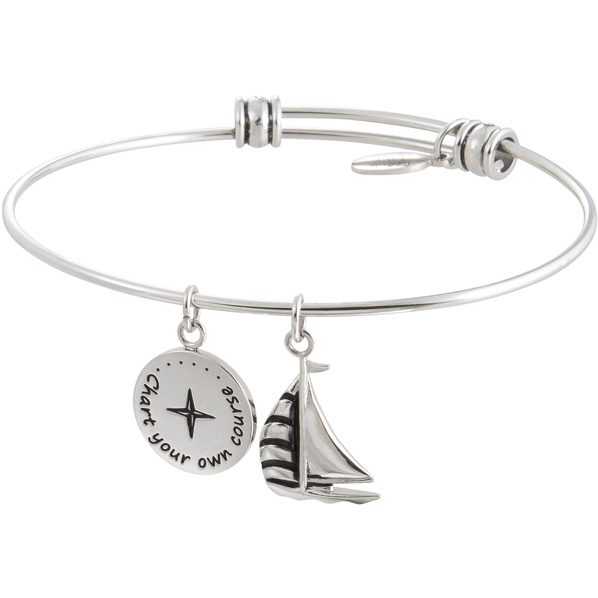 "Connections from Hallmark Stainless Steel ""Chart Your Own Course"" Multi-Charm Wire Bangle, 7.75"