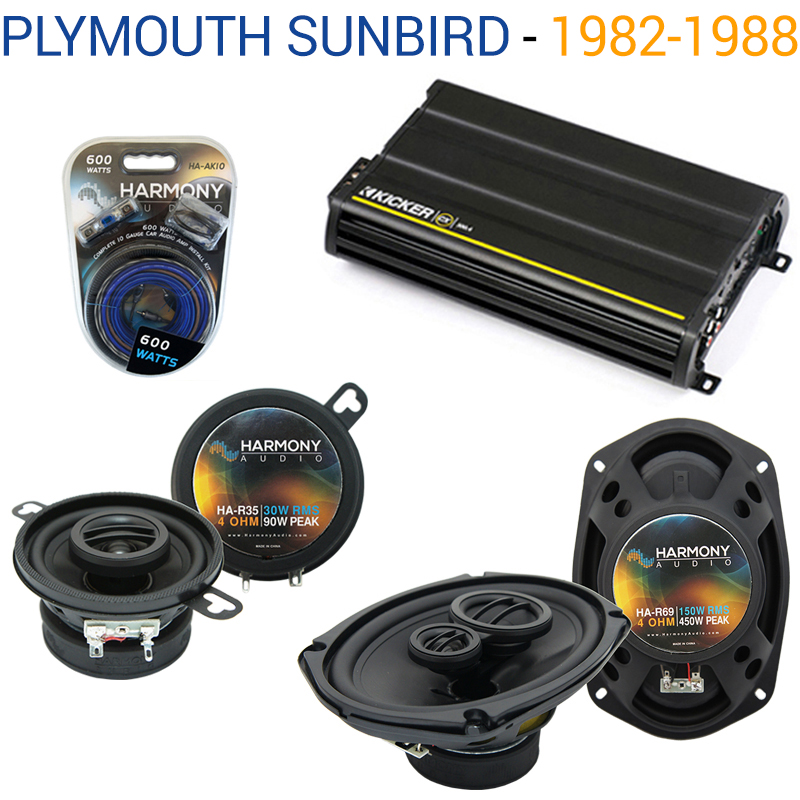 Pontiac Sunbird 1982-1988 OEM Speaker Upgrade Harmony R35 R69 & CX300.4 Amp - Factory Certified Refurbished