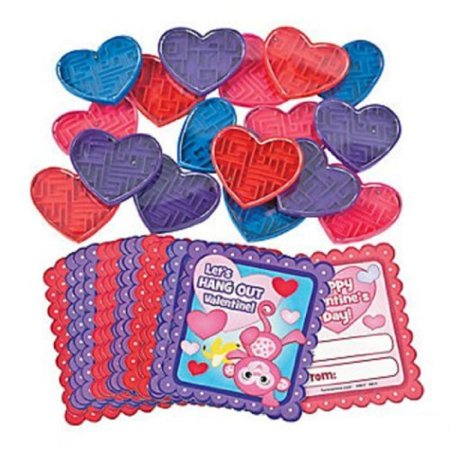 Lot of 18 Plastic Valentine Maze Puzzle Fun Favors with Cards by FX