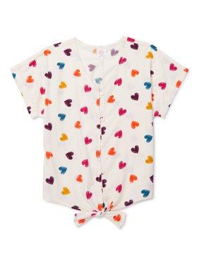 Wonder Nation Girls 4-18 & Plus Button Down Tie-Front Camp Shirt