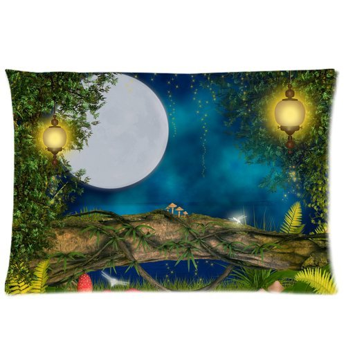 ZKGK Magical Night Star Moon Tree Art Pillowcase Standard Size for Couch Bed 20 x 30 Inches,Blue Sky Strawberry Mushroom Lamp Shams Decorative Pillow Cover Case