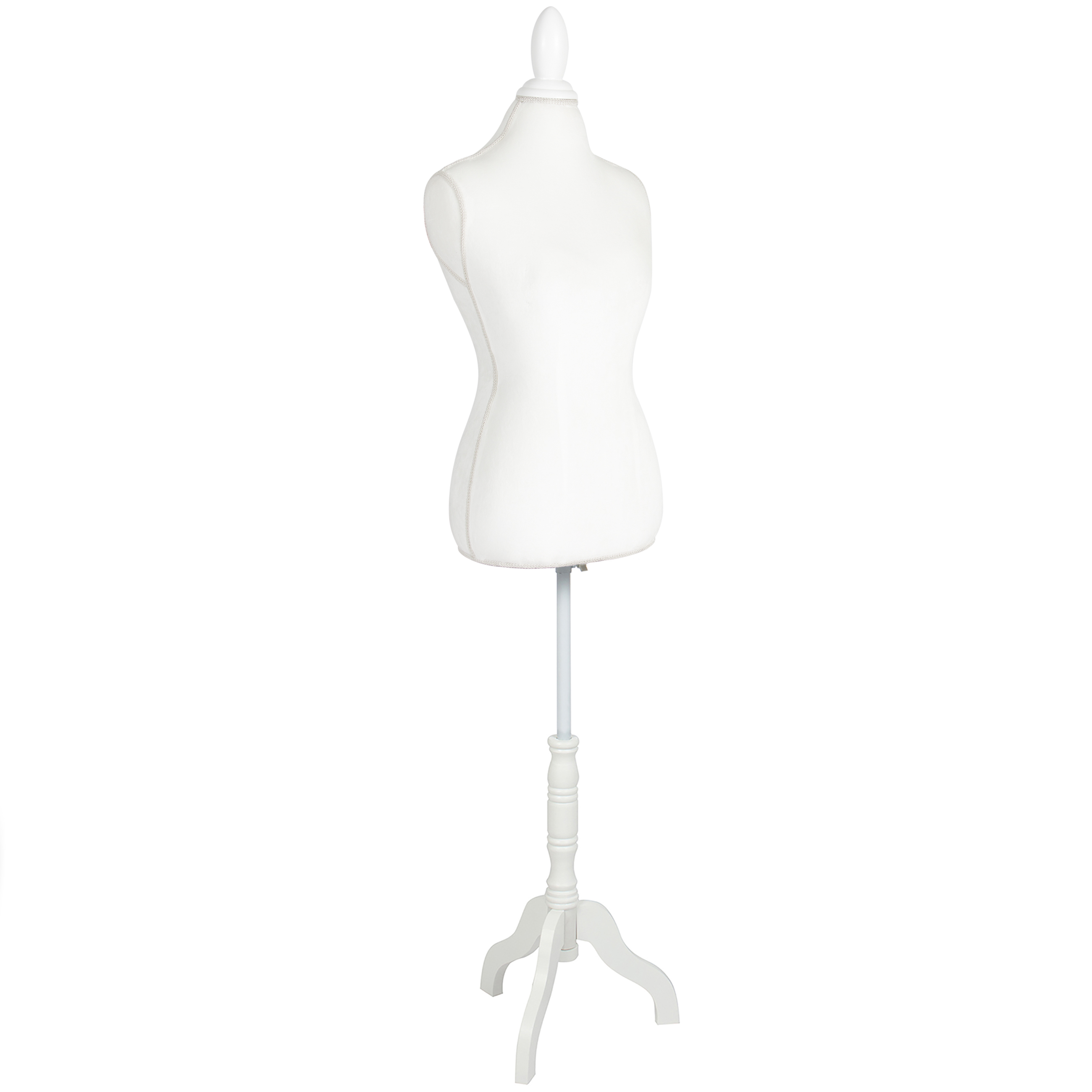 Best Choice Products Female Mannequin Torso Display w/ Wooden Tripod Stand, Adjustable Height - White
