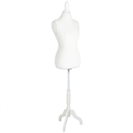 Best Choice Products Female Mannequin Torso Display W  Wooden Tripod Stand  Adjustable Height   White