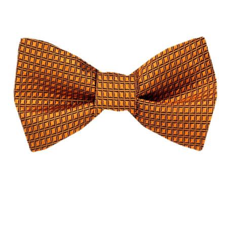 Mens Orange Silk Self Tie Bow Tie