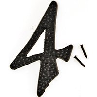 HY-KO DC-3/4 House Number, Character 4, 2 in W x 3-1/2 in H Character, Black Character 10 - 10 Pack Blank