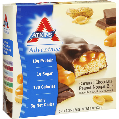 Atkins Advantage Caramel Chocolate Peanut Nougat Bar, 5ct